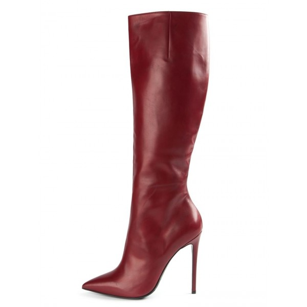 Burgundy Stiletto Boots Sexy Pointy Toe Knee-high Boots image 1