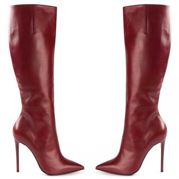Burgundy Stiletto Boots Sexy Pointy Toe Knee-high Boots image 2
