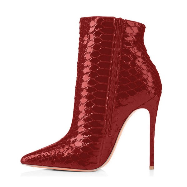 Red Ankle Booties Python Pointy Toe Fashion Stiletto Boots for Women image 4