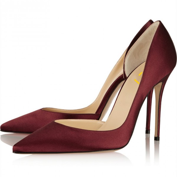 Burgundy Heels Pointy Toe Stiletto Heel Satin D'orsay Pumps  image 1