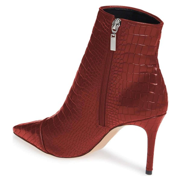 Burgundy Stone Pattern Stiletto Boots Ankle Boots image 2