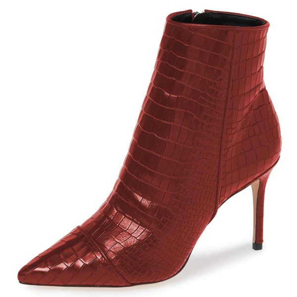 Burgundy Stone Pattern Stiletto Boots Ankle Boots image 1