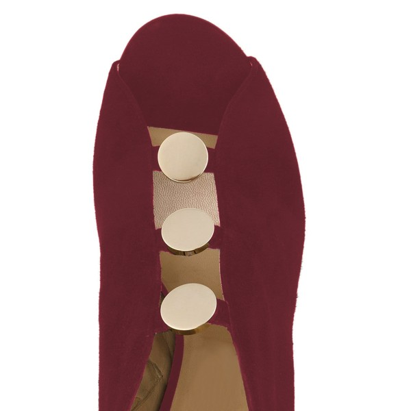 Burgundy Studs Stiletto Heel Peep Toe Booties image 2