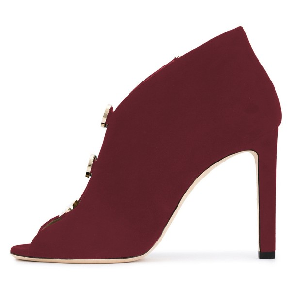 Burgundy Studs Stiletto Heel Peep Toe Booties image 3