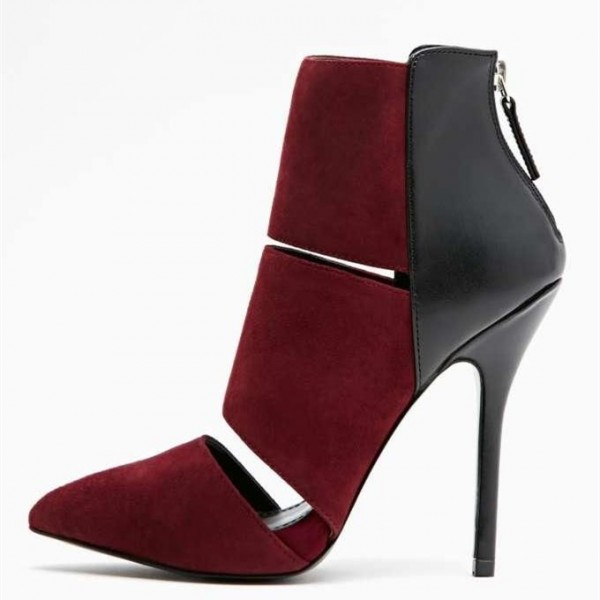 Burgundy Suede and Black Cut Out Stiletto Boots image 1