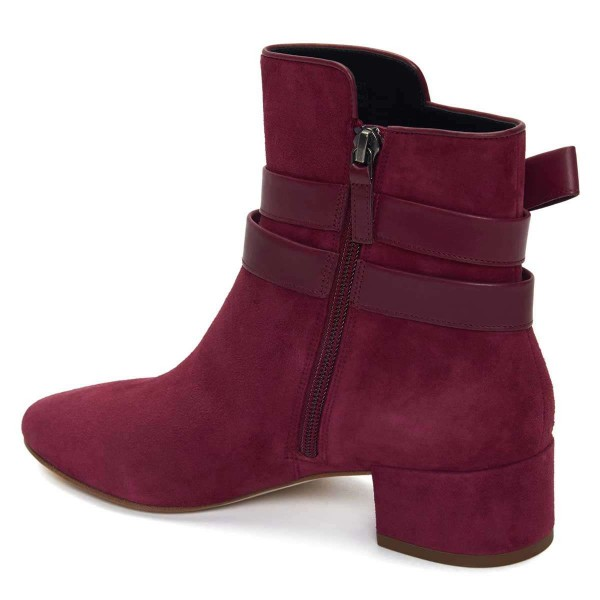Burgundy Suede Boots Bow Chunky Heel Ankle Boots image 2
