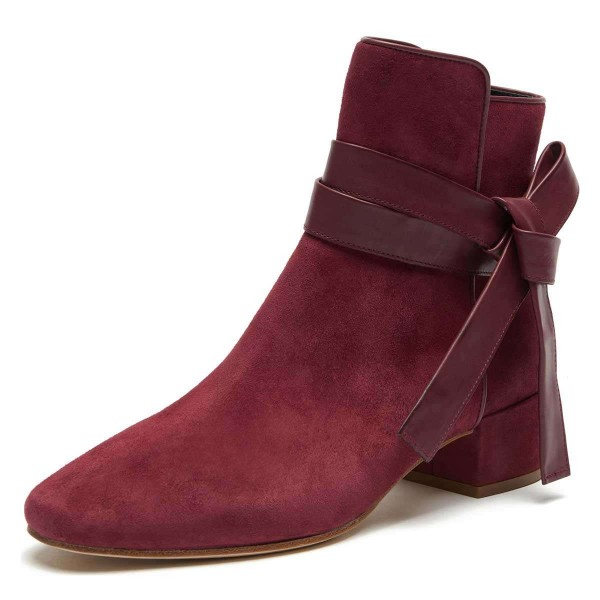 Burgundy Suede Boots Bow Chunky Heel Ankle Boots image 1