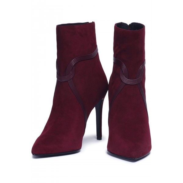 Burgundy Suede Boots Stripes Stiletto Heel Ankle Boots image 1