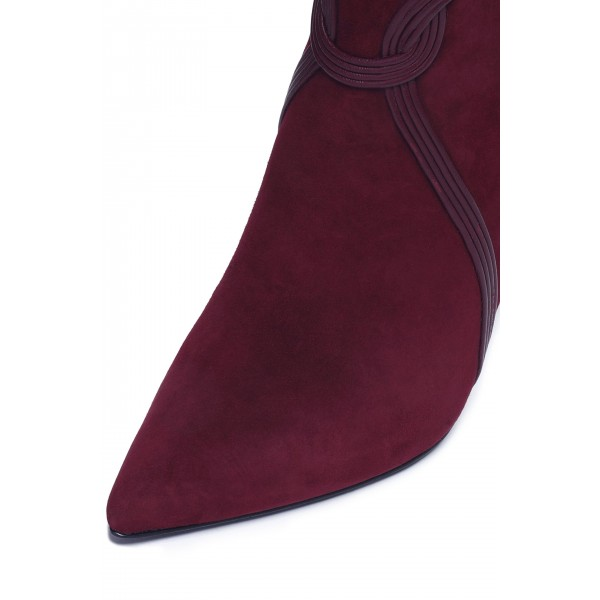 Burgundy Suede Boots Stripes Stiletto Heel Ankle Boots image 3