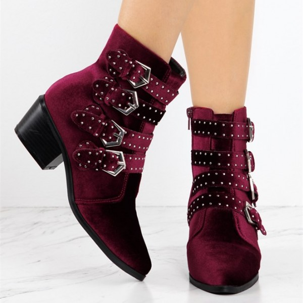 Burgundy Velvet Casual Boots Buckle Pointy Toe Comfortable Short Boots image 2