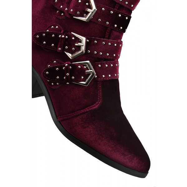 Burgundy Velvet Casual Boots Buckle Pointy Toe Comfortable Short Boots image 3