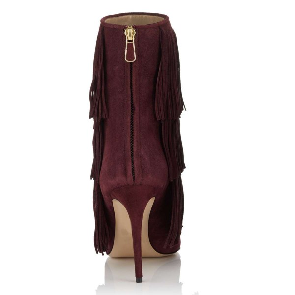 Burgundy Suede Fringe Boots Stiletto Heel Ankle Boots image 2