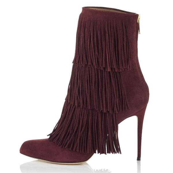 Burgundy Suede Fringe Boots Stiletto Heel Ankle Boots image 3