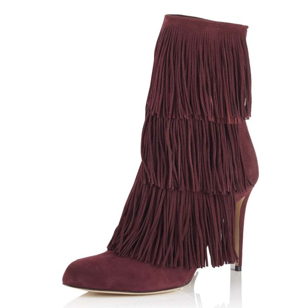 Burgundy Suede Fringe Boots Stiletto Heel Ankle Boots image 1