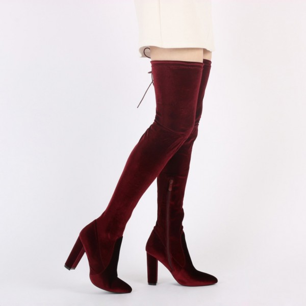Burgundy Velvet Boots Closed Toe Chunky Heel Thigh High Boots image 3