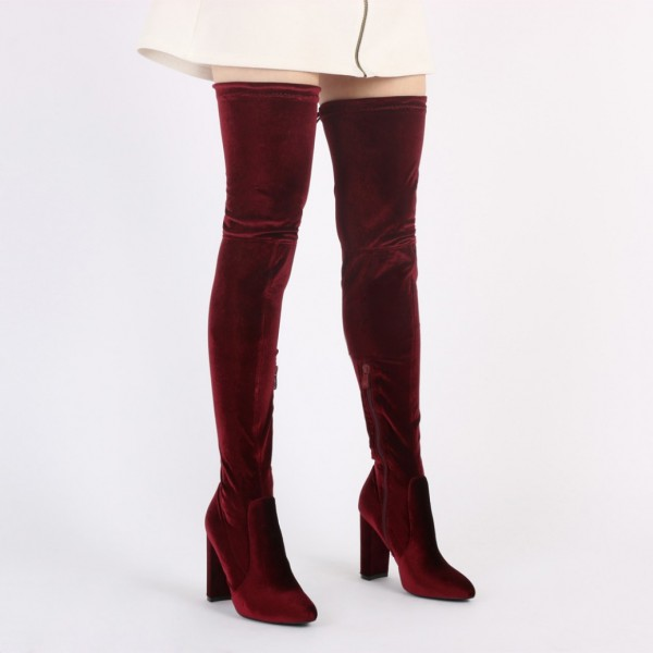 Burgundy Velvet Boots Closed Toe Chunky Heel Thigh High Boots image 4