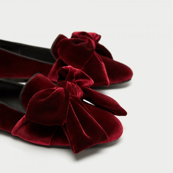 Burgundy Velvet Loafers for Women Cute Round Toe Flats with Bow image 3