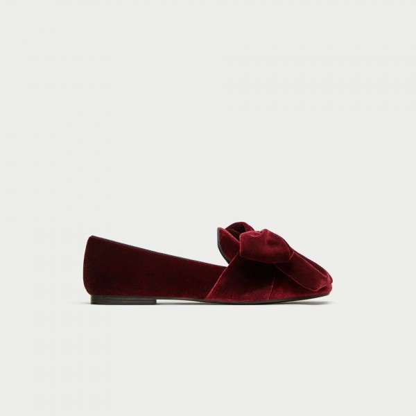 Burgundy Velvet Loafers for Women Cute Round Toe Flats with Bow image 2