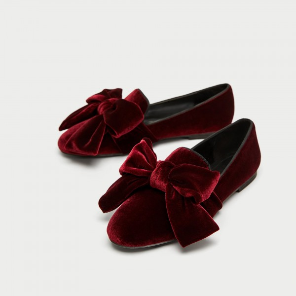 Burgundy Velvet Loafers for Women Cute Round Toe Flats with Bow image 1