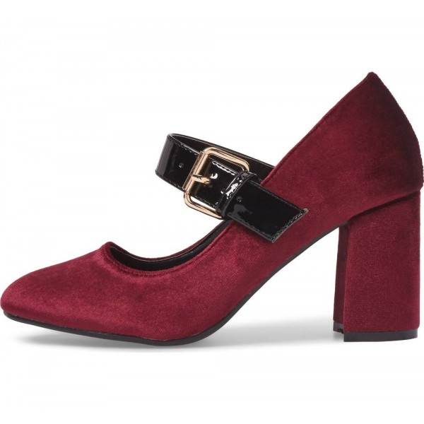 Burgundy Velvet Mary Jane Pumps Block Heels Buckle Shoes image 1