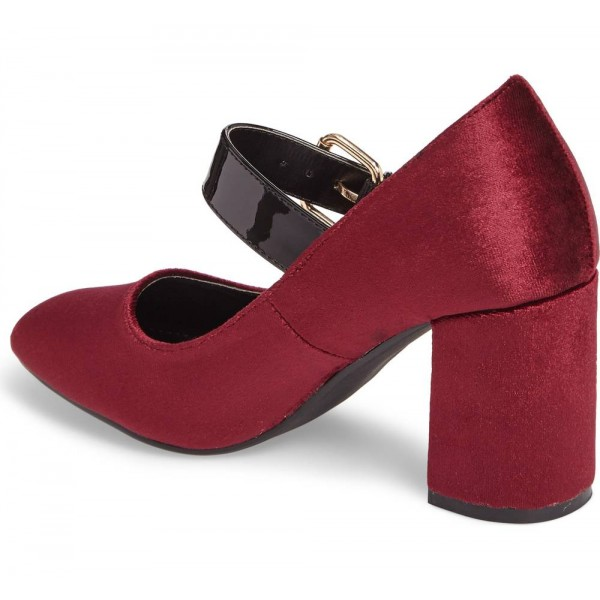 Burgundy Velvet Mary Jane Pumps Block Heels Buckle Shoes image 2