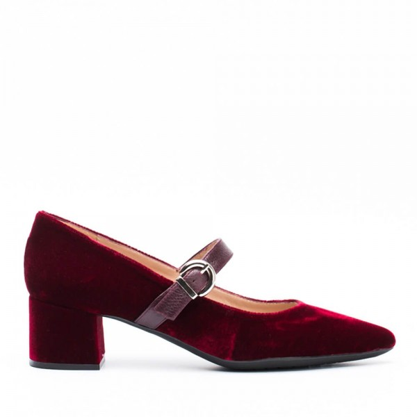 Burgundy Velvet Pointy Toe Mary Jane Shoes Block Heels Pumps image 2