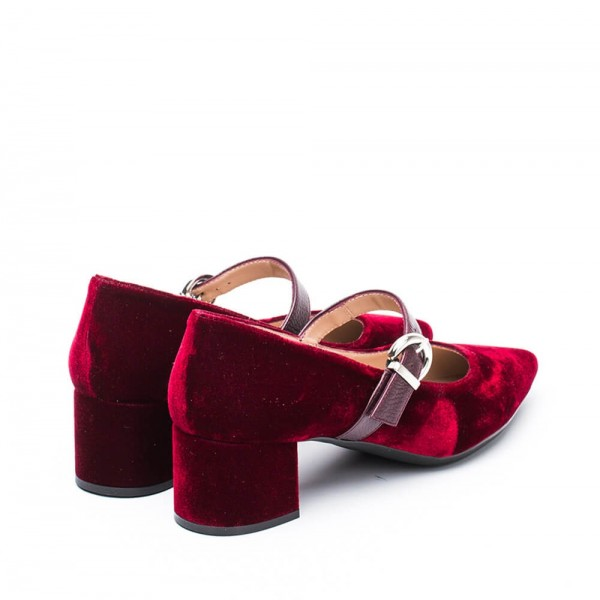 Burgundy Velvet Pointy Toe Mary Jane Shoes Block Heels Pumps image 3