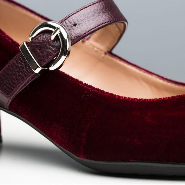 Burgundy Velvet Pointy Toe Mary Jane Shoes Block Heels Pumps image 5