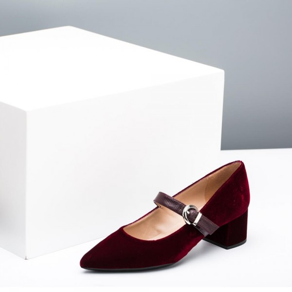 Burgundy Velvet Pointy Toe Mary Jane Shoes Block Heels Pumps image 4