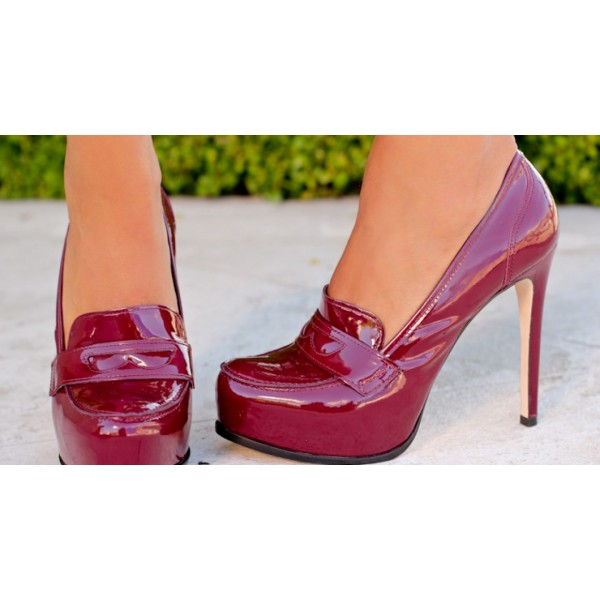 Burgundy Patent Leather Platform Stiletto Heeled Loafers for Women image 2