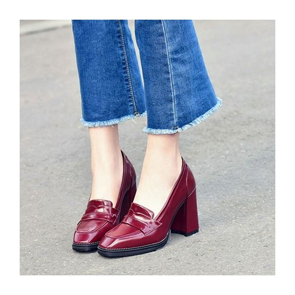 Burgundy Patent Leather Block Heel Square Toe Heeled Loafers for Women image 6