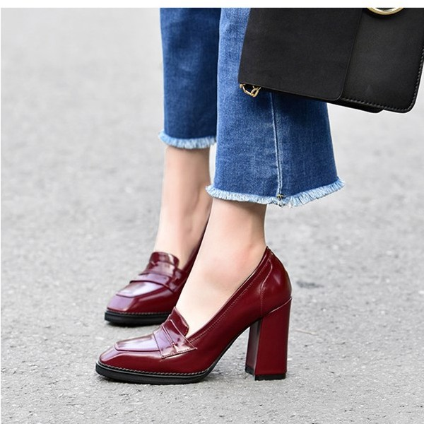 Burgundy Patent Leather Block Heel Square Toe Heeled Loafers for Women image 5