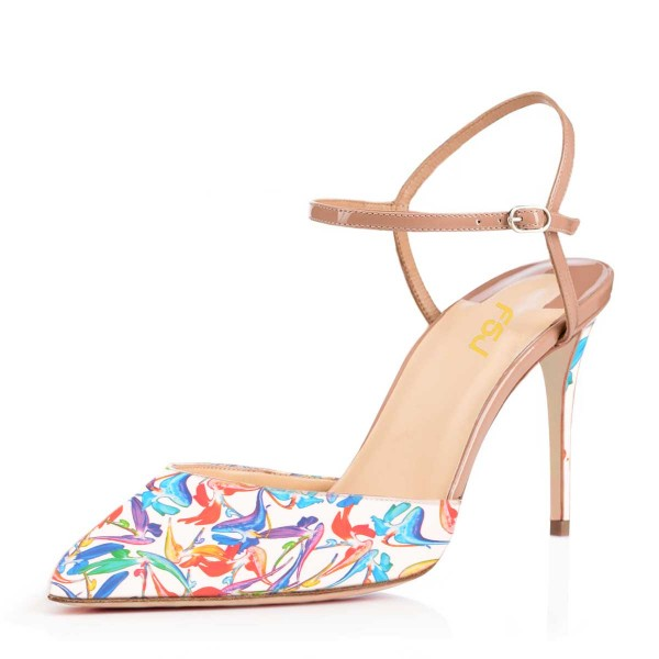 Women's  White Floral Printed Pointed Toe Stiletto Heels Sandals image 1