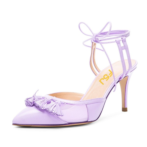 Purple Tassels Decorated Lace Up Ankle Strap Heels Stiletto Heel Sandals image 1