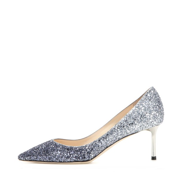 Silver Wedding Shoes Glitter Pointy Toe Kitten Heel Sparkly Pumps image 2
