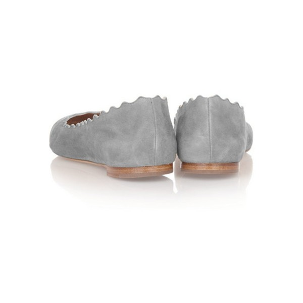 On Sale Grey Suede Round Toe Flats Casual Shoes for Women image 4