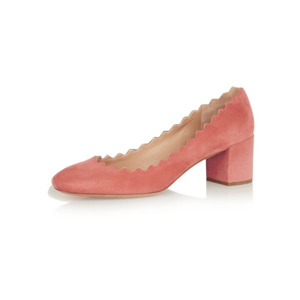 Pink Chunky Heels Suede Shoes US Size 3-15  image 1