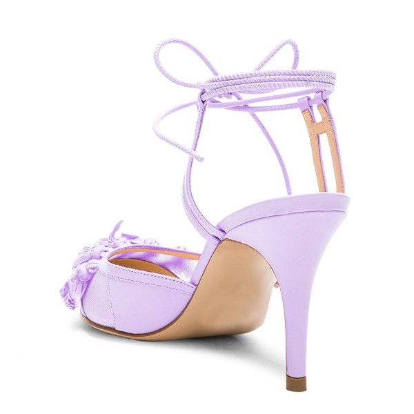 Purple Tassels Decorated Lace Up Ankle Strap Heels Stiletto Heel Sandals image 2