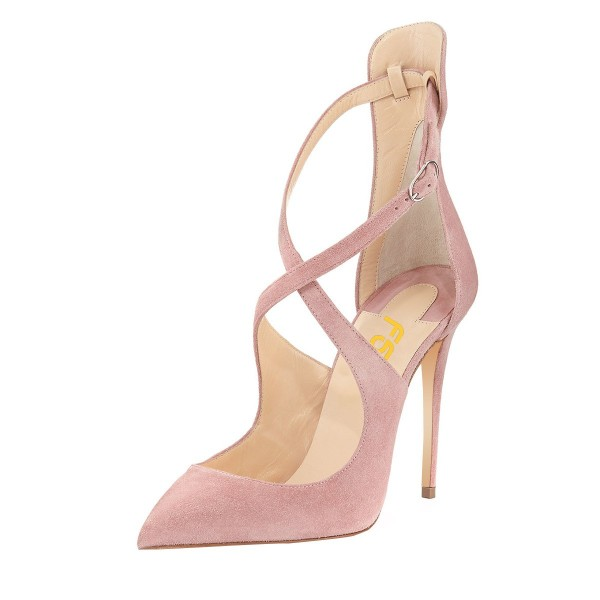 Pink Suede Shoes Cross over Strap Pointy Toe Stiletto Heel Pumps image 1