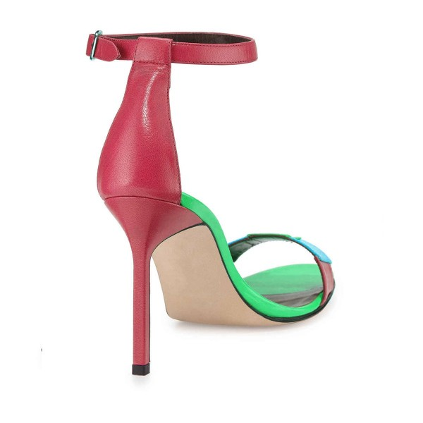 Women's Green Stitched Color Open Toe Stiletto Heel Ankle Strap Sandals image 2