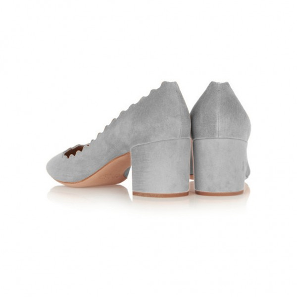 Grey Block Heels Suede Shoes Round Toe Casual Pumps image 2