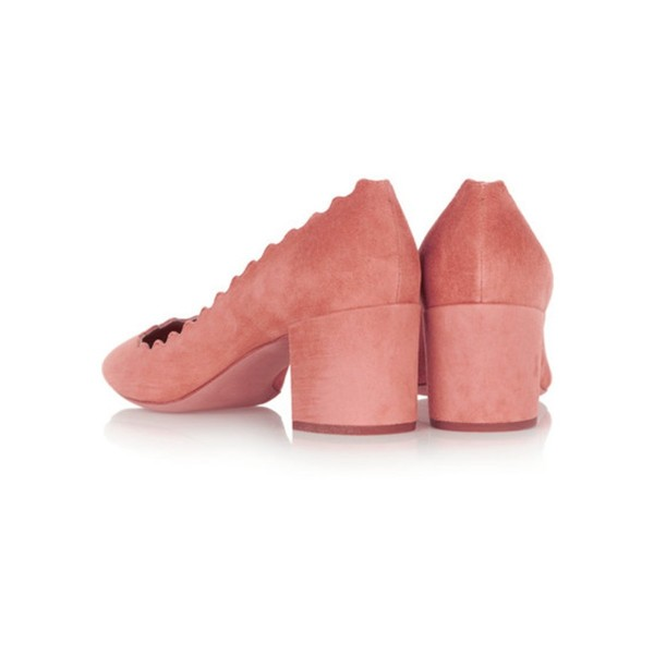 Pink Chunky Heels Suede Shoes US Size 3-15  image 3