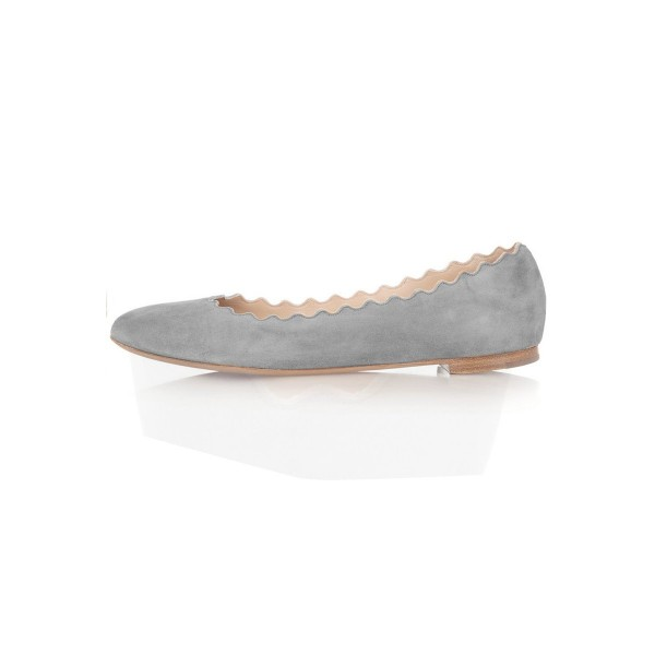 On Sale Grey Suede Round Toe Flats Casual Shoes for Women image 1
