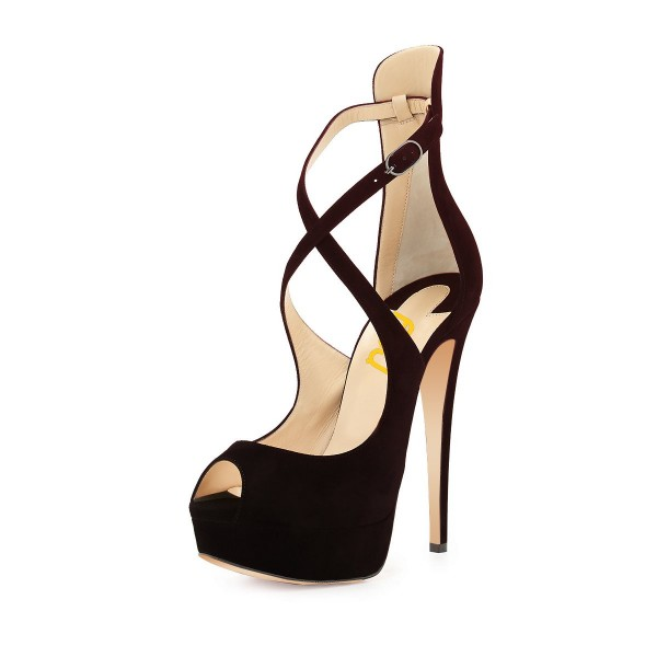 Black Cross-over Platform Sandals Peep Toe Stiletto Heel Sandals image 1