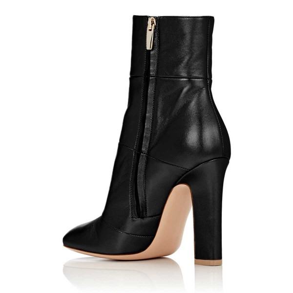 Women's Lelia Black Chunky Heels Side Zip-Up Almond Toe Ankle Booties image 2