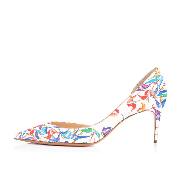 Women's Lillian White Floral Heels Dorsay Pumps image 2