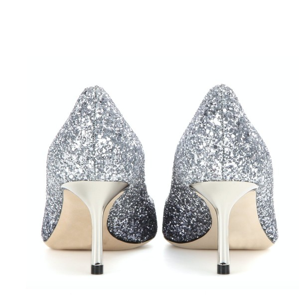Silver Wedding Shoes Glitter Pointy Toe Kitten Heel Sparkly Pumps image 3
