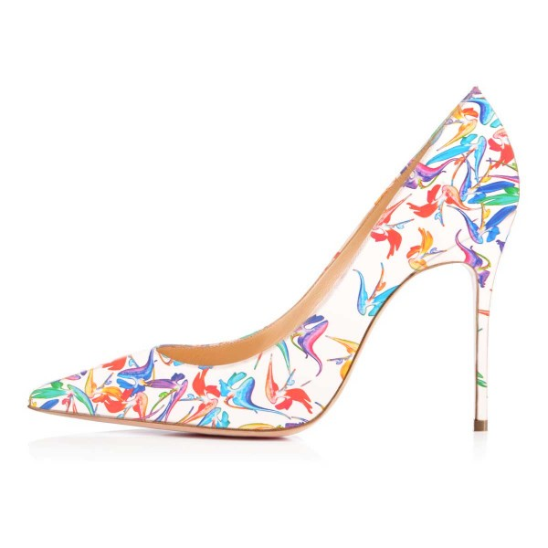 Women's Lillian White Pointed Toe Low-cut Floral Heels Stiletto Heel Pumps image 3