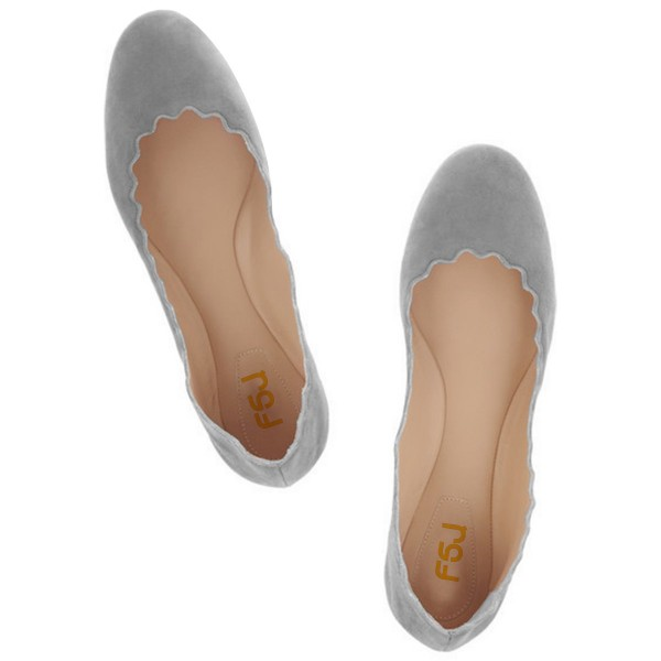 On Sale Grey Suede Round Toe Flats Casual Shoes for Women image 2