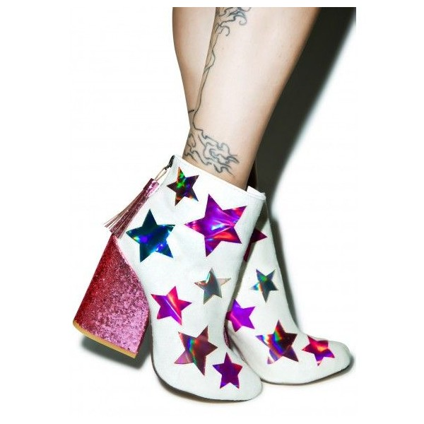White and Pink Glitter Holographic Stars Chunky Heel Fashion Boots image 2